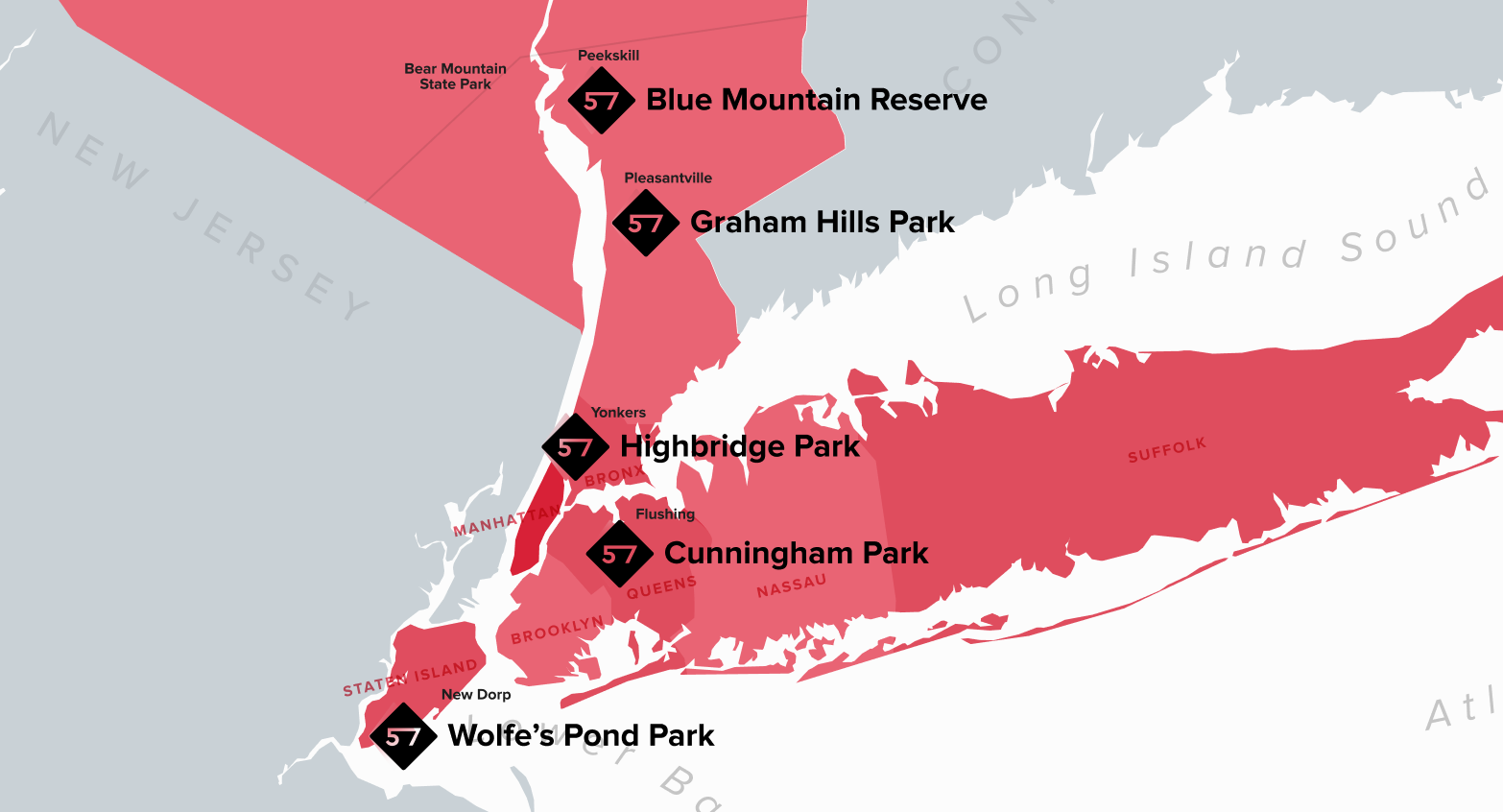 57hours map of the best places to MTB around NYC.