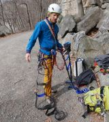 Viktor's inner sport climber is fighting the thought of climbing with so much gear.