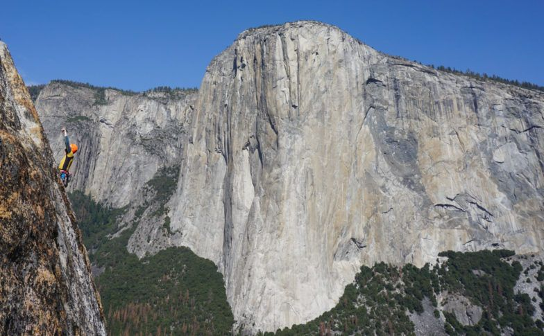 Perica leading the crux pitch at East Buttress, with a nice view of El Cap in the back