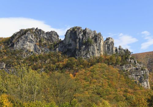 The striking Seneca Rocks formation on the west side of the North Fork Mountains in West Virginia. This rock formation rises nearly 900 feet.