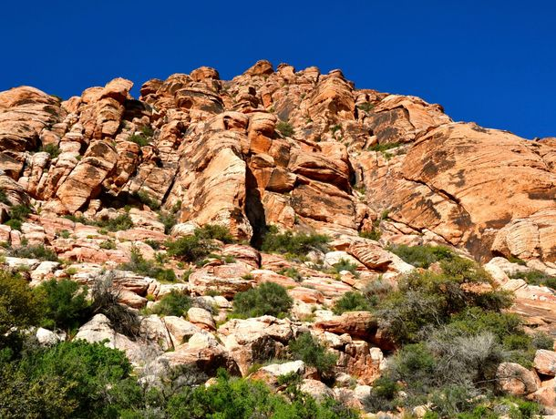 Looking up at the towering hills of rock at Red Rock Canyon Conservation area in Nevada