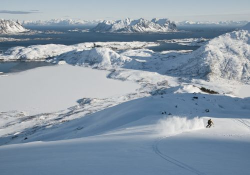 A skier going down a mountain with a great landscape in the background