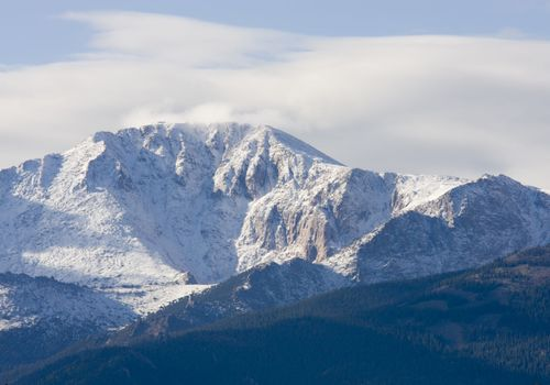 Pikes Peak with fresh snow on a crisp early autumn morning.