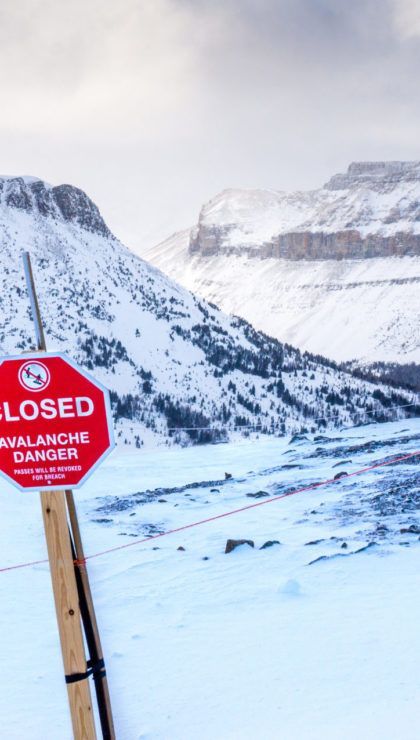 An avalanche danger sign at Lake Louise Ski Resort.