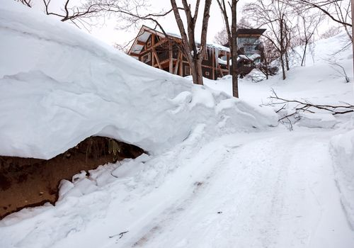 Heavy snow in mid-winter at the ski resort of Niseko, Japan. The mid winter landscape shows bare trees and snow piled high to allow access to cars and pedestrians.