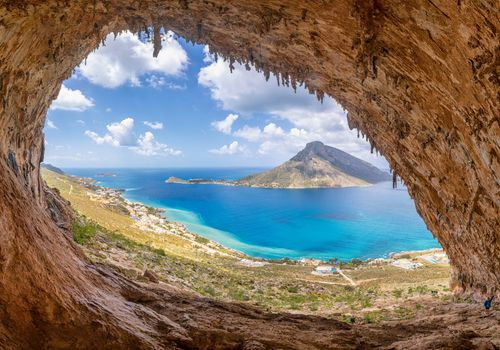 The famous Grande Grotta, one of the most popular climbing fields of Kalymnos island