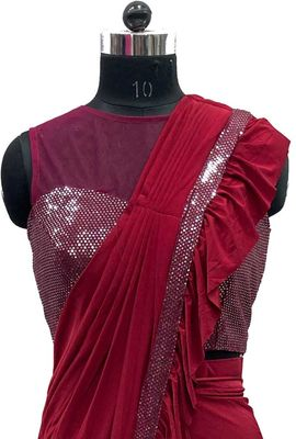 Latest designer new and fancy ruffle saree in fashion for wedding and bridal partys DR3277C