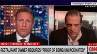 'You sound like an idiot': Chris Cuomo throws down with Tony Roman, Italian restaurant owner who posted sign mandating patrons be 'UNvaccinated'