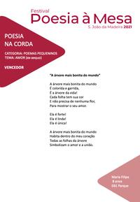 Filipa, 2.ºB do Parque – 1.º Prémio no Concurso Poesia na Corda