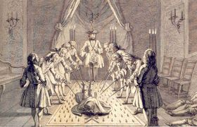 A picture describing a masonic initiation ritual