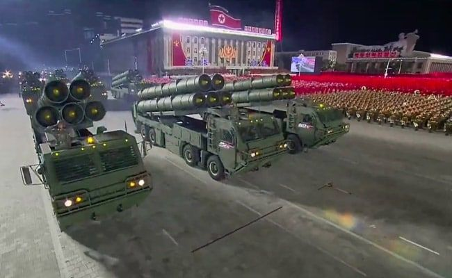 North Korea Displays Giant New Ballistic Missiles At Military Parade