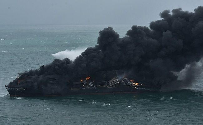Burning Ship With Chemicals At Risk Of Sinking Off Sri Lanka