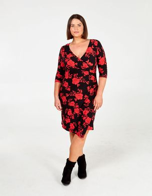 DIANA - Curve Floral Side Ruched Dress - 28 / RED