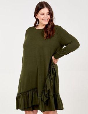 SUSAN - Curve Ruffle Hem Swing Dress - 26 / KHAKI
