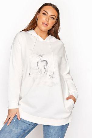 Plus size ivory deer print hoodie 30-32