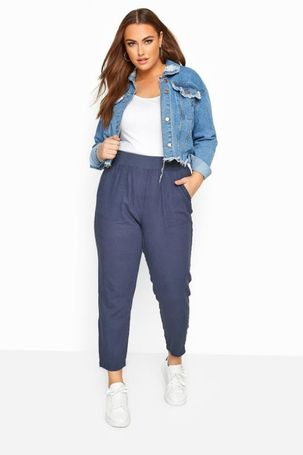 Plus size blue linen tapered trousers 18