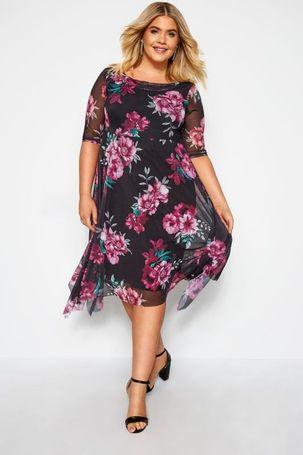 Plus size yours london black floral cowl neck dress 16