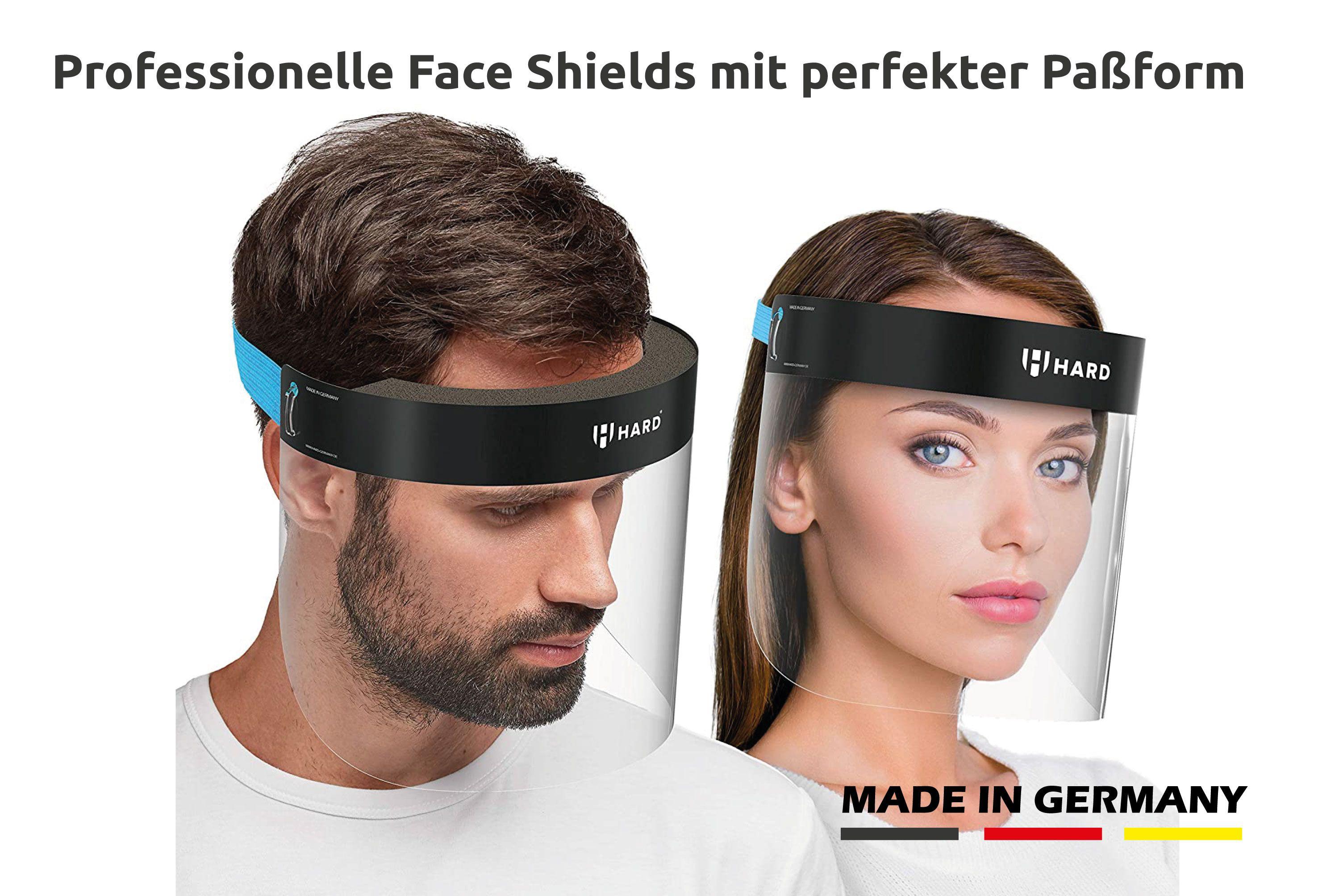 HARD PRO Premium Face Shield, Made in Germany, Flexibler Gummizug zur bequemen Kopffixierung schwarz