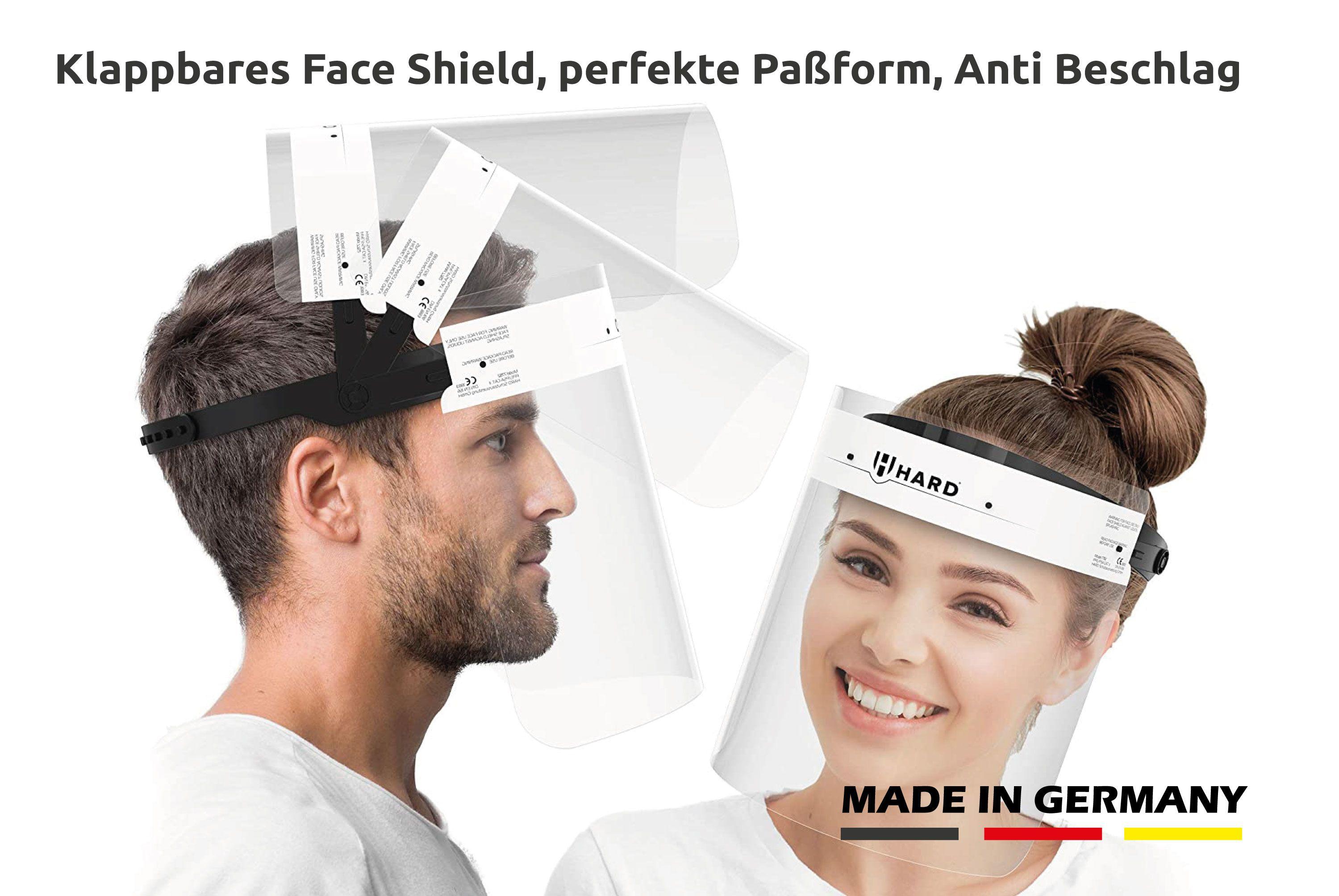 Face Shield / Gesichtsvisier aufklappbar. Premium Qualität Made in Germany, mit beidseitigem Anti Beschlag & verstellbarem Kopfverschluss unisex schwarz