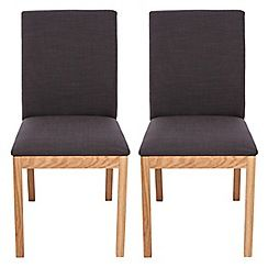 326004069063: Pair of oak Trinity dining chairs with charcoal grey seats