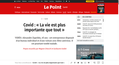 Screenshot of Le Point website about Alexandre Zapolsky's COVID19