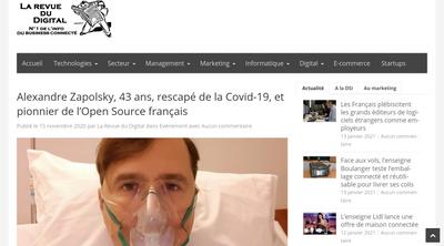 Screenshot of La Revue Digital website about Alexandre Zapolsky's COVID19