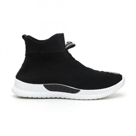 Ανδρικά slip-on μαύρα αθλητικά παπούτσια κάλτσα με λευκή επιγραφή