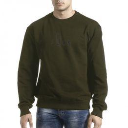Ανδρική πράσινη μπλούζα με πρίντ στην πλάτη