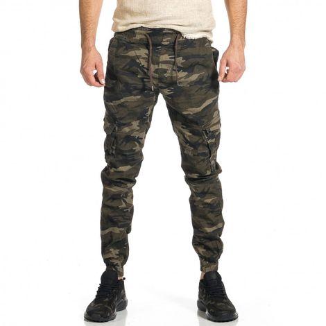 Ανδρικό μπεζ-πράσινο καμουφλαζ παντελόνι cargo