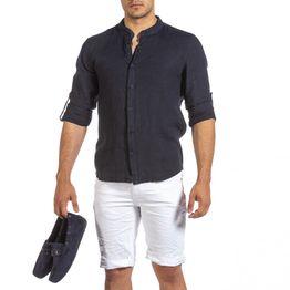 Ανδρικό σκούρο μπλε λινό πουκάμισο
