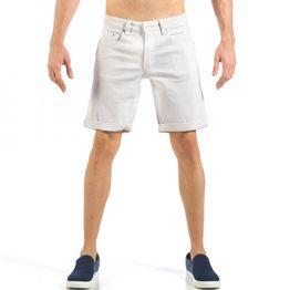 Ανδρική λευκή τζιν βερμούδα απλό μοντέλο