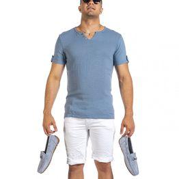 Ανδρική γαλάζια κοντομάνικη μπλούζα Made in Italy
