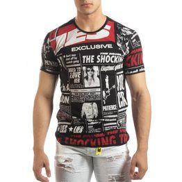 Ανδρική μαύρη κοντομάνικη μπλούζα Exclusive News
