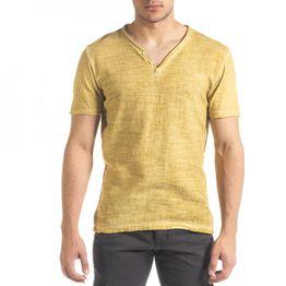 Ανδρική κίτρινη κοντομάνικη μπλούζα Ficko