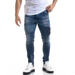 Slim fit ανδρικό μπλε τζιν με ξεθωριασμένο εφέ