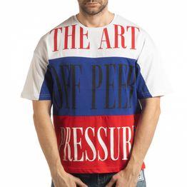 Ανδρική πολύχρωμη κοντομάνικη μπλούζα με λευκό, μπλε, κόκκινο χρώμα