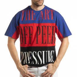 Ανδρική πολύχρωμη κοντομάνικη μπλούζα με μπλε, κόκκινο, μαύρο χρώμα