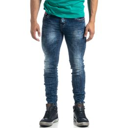 Washed ανδρικό μπλε τζιν τσαλακωμένο μοντέλο Slim fit