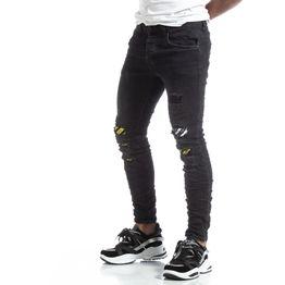 Slim fit ανδρικό μαύρο τζιν με διακοσμήσεις