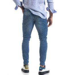 Ανδρικό μπλε τζιν Slim fit με σκισίματα