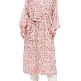 MABE - Γυναικείο μακρύ κιμονό MABE KELBY DRESSING GOWN μπεζ κόκκινο