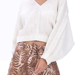 SCOTCH & SODA - Γυναικείο λινό cropped top SCOTCH & SODA λευκό