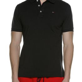TOMMY HILFIGER - Ανδρική polo μπλούζα TOMMY HILFIGER ORIGINAL FINE PIQUE μαύρη