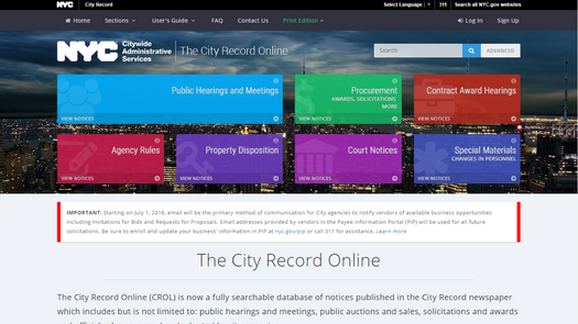 Screenshot for .net web app The City Record Online