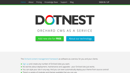 Screenshot for .net web app DotNest