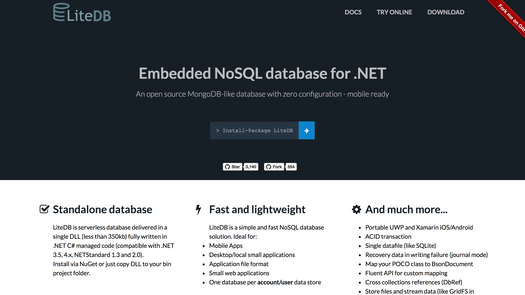Screenshot for .net library or nuget package LiteDb NoSql database