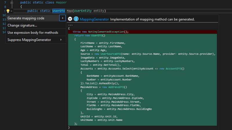 Screenshot for .net developer tool MappingGenerator