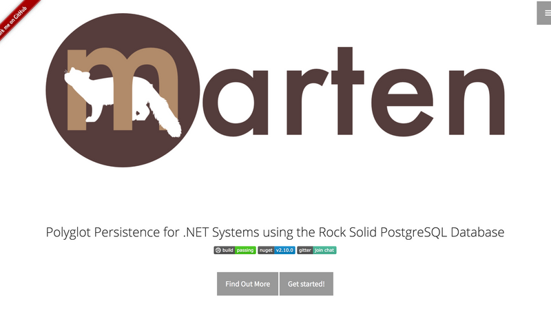 Screenshot for .net library or nuget package Marten Postgres Document DB