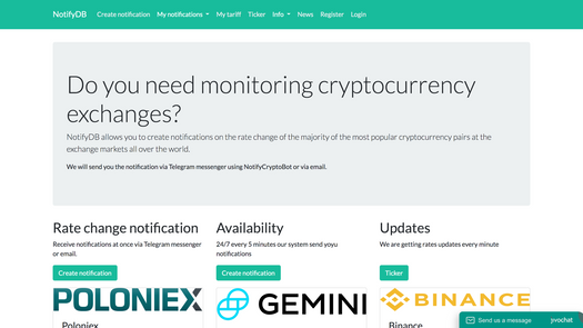 Screenshot for .net web app NotifyDB - Cryptocurrency notifications