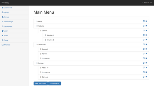Screenshot for .net web app Weapsy CMS